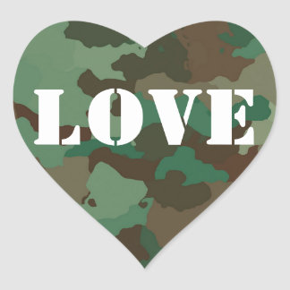 Green Camouflage Love Wedding Favor Sticker