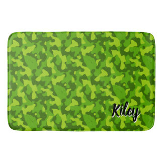 Green Camouflage Pattern Monogram Bath Mat