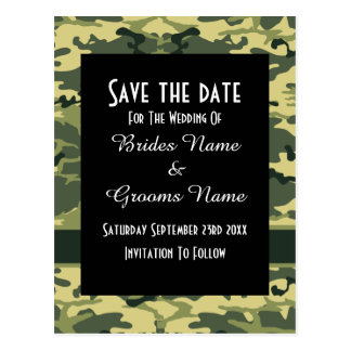Green camouflage pattern save the date post cards