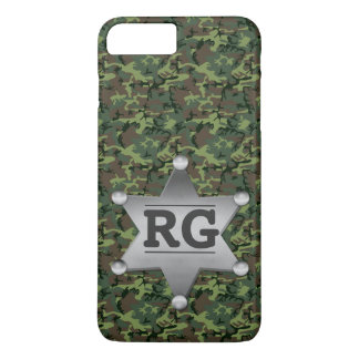 Green Camouflage Pattern Sheriff Badge Monogram iPhone 7 Plus Case