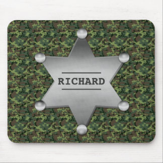Green Camouflage Pattern Sheriff Name Badge Mousepads