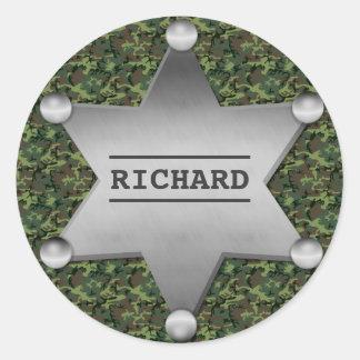 Green Camouflage Pattern Sheriff Name Badge Round Sticker