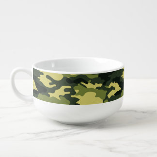 Green Camouflage Pattern Soup Mug
