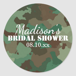 Green Camouflage Personalized Bridal Shower Classic Round Sticker
