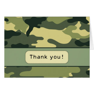 Green Camouflage Thank you Note Card