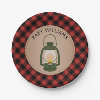Green Camping Lantern Lumberjack Plaid Baby Shower Paper Plate