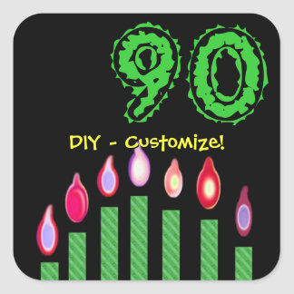 Green Candles 90th Birthday DIY - Customize! Stickers