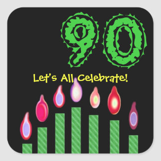 Green Candles 90th Birthday Let's All Celebrate Square Sticker
