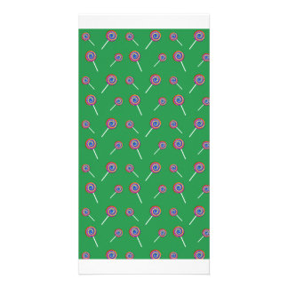 Green candy pattern photo card template