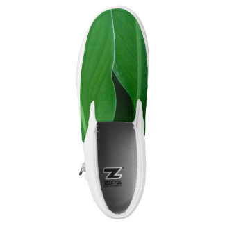 Green canna lily leaves photo slip on shoes