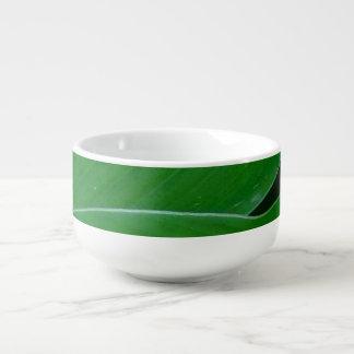 Green canna lily leaves photo soup mug