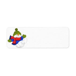 Green Cap Snowman Return Address Label