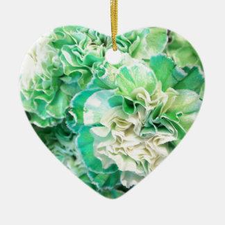 Green Carnation Ceramic Ornament