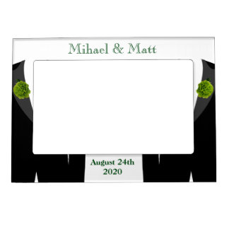 Green Carnation Frame Gay Wedding Gift for Grooms Magnetic Picture Frames