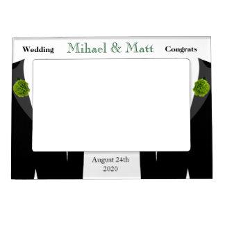 Green Carnation Gay Grooms Wedding Frame Picture Frame Magnet