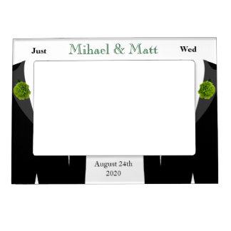 Green Carnation Gay Wedding Photo Frame Magnetic Photo Frame