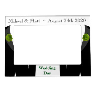 Green Carnation Grooms Gay Wedding Day Photo Frame Frame Magnets