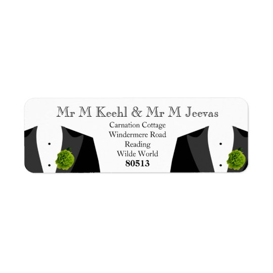 Green Carnation Return Labels for Gay Grooms