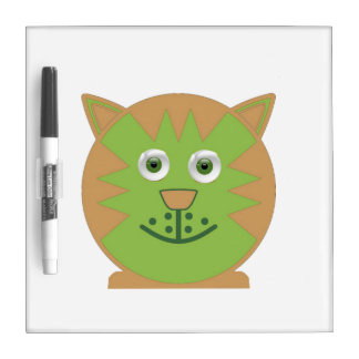 Green  Cartoon Cat Dry Erase Board