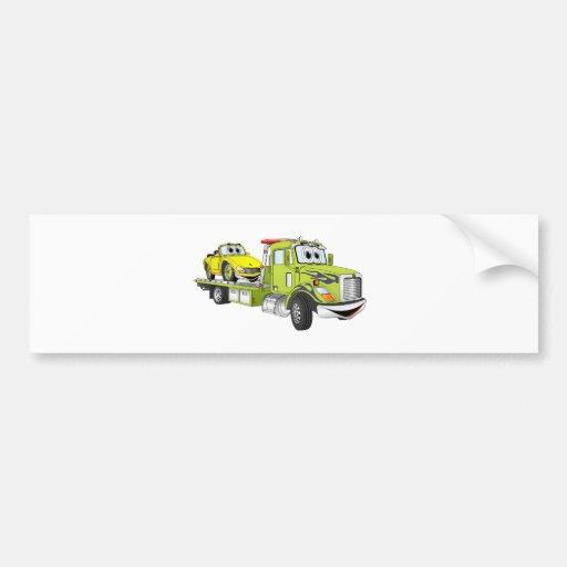 Green Cartoon Flatbed Tow Truck Bumper Sticker