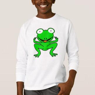 Green cartoon frog. t-shirts
