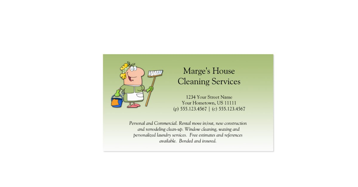Green Cartoon Maid House Cleaning Customer Loyalty Pack Of