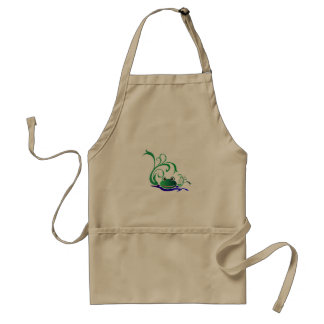 Green Cartoon Smiling Frog Face over water Standard Apron