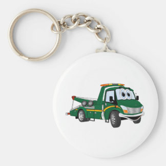 Green Cartoon Tow Truck Key Ring