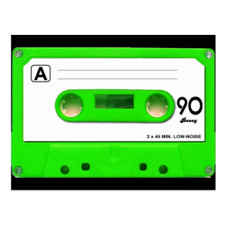 Green Cassette Tape Post Card