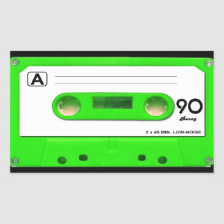 Green Cassette Tape Rectangular Sticker