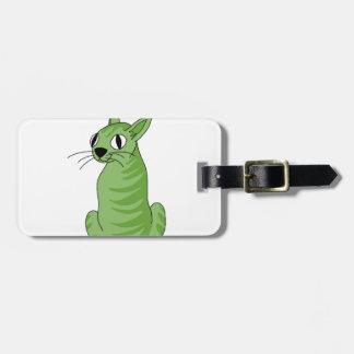 Green cat bag tag