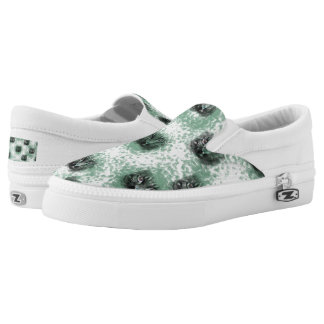 Green Cat Face Slip-on Shoes