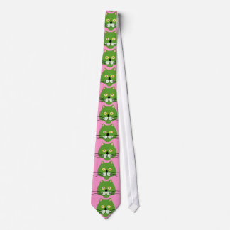 green cat face tie