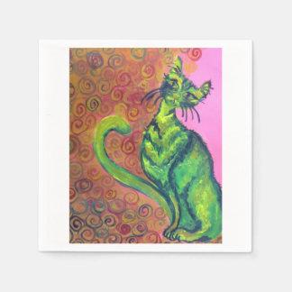 green cat on pink napkin disposable serviette