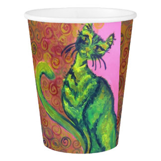 green cat on pink paper cup