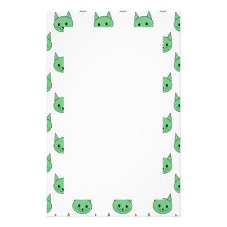 Green cat pattern. customized stationery
