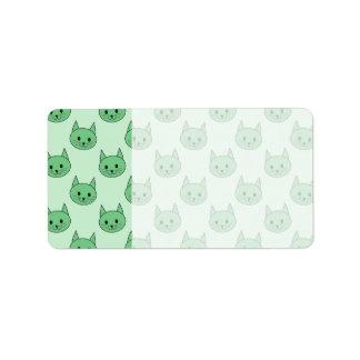Green cat pattern. address label