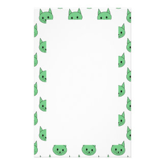 Green cat pattern. customized stationery