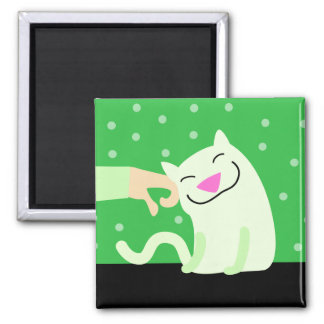 Green Cat with Petting Hand Magnet