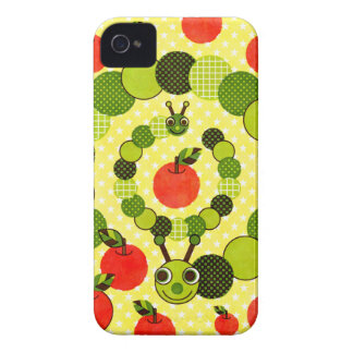 Green caterpillar and apple (Apple and iPhone 4 Cases