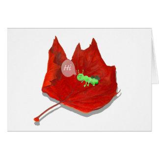 Green Caterpillar on Autumn Leaf, saying Hi Greeting Card