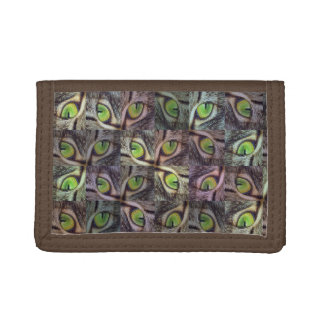 Green Cats Eye Abstract Art, Trifold Wallet