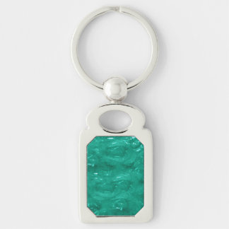 Green Cellophane Silver-Colored Rectangle Key Ring