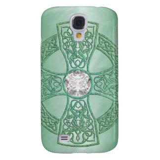 Green Celtic Cross 3g Samsung Galaxy S4 Cases
