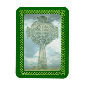 Green Celtic Cross And Clouds Rectangular Magnet