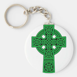 Green Celtic Cross Key Ring