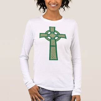 Green Celtic Cross Ladie's Fitted Long Sleeve Long Sleeve T-Shirt