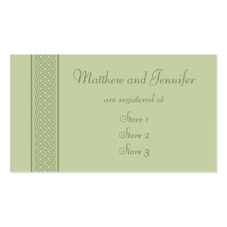 Green Celtic Custom Wedding Gift Registry Cards Business Card
