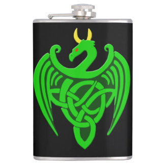 Green Celtic Dragon Flask