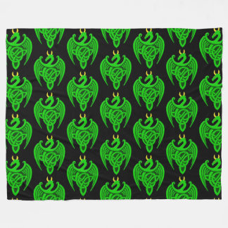 Green Celtic Dragon Fleece Blanket